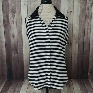 INC striped sleeveless button down blouse